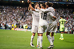 Real Madrid's Dani Carvajal, Lucas Vazquez and Gareth Bale celebrating the victory during Champions League 2015/2016 Semi-Finals 2nd leg match at Santiago Bernabeu in Madrid. May 04, 2016. (ALTERPHOTOS/BorjaB.Hojas)