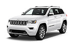 2017 Jeep Grand Cherokee Overland 5 Door SUV angular front stock photos of front three quarter view