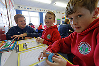 Pictured: Thomas Williams. Wednesday 29 January 2020<br /> Re: Swansea City AFC Community Trust visit Llangyfelach primary School in Swansea, Wales, UK.