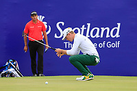 Brandon Stone (RSA) misses the put for a round of 59 on the 18th during the final round of the Aberdeen Standard Investments Scottish Open, Gullane Golf Club, Gullane, East Lothian, Scotland. 15/07/2018.<br /> Picture Fran Caffrey / Golffile.ie<br /> <br /> All photo usage must carry mandatory copyright credit (&copy; Golffile | Fran Caffrey)