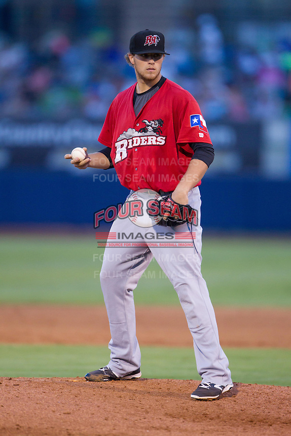 Frisco RoughRiders pitcher Jake Thompson (29) on the mound during the Texas League game against the Tulsa Drillers at ONEOK field on August 15, 2014 in Tulsa, Oklahoma  The RoughRiders defeated the Drillers 8-2.  (William Purnell/Four Seam Images)