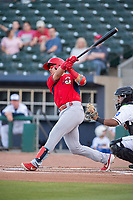 Springfield Cardinals infielder Evan Mendoza (4) connects on a pitch on May 16, 2019, at Arvest Ballpark in Springdale, Arkansas. (Jason Ivester/Four Seam Images)