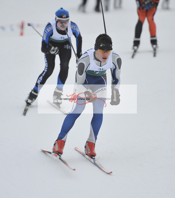 Torsten Renner of Eagle River and Max Beiergrohslein of Chugiak ski in a quarterfinal sprint during the Service Snowball races at Kincaid Park Saturday, Dec. 3, 2016.  Photo by Michael Dinneen for the Star.