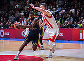 22nd March 2018, Aleksandar Nikolic Hall, Belgrade, Serbia; Turkish Airlines Euroleague Basketball, Crvena Zvezda mts Belgrade versus Fenerbahce Dogus Istanbul; Guard Brad Wanamaker of Fenerbahce Dogus Istanbul drives to the basket while Center Alan Omic of Crvena Zvezda mts Belgrade tries to stop him