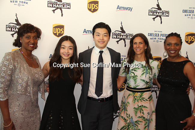 Angela Thompson - Maia & Alex Shibutani - Ellen Lowey - Candace Matthews at Figure Skating in Harlem's Champions in Life (in its 21st year) Benefit Gala recognizing the medal-winning 2018 US Olympic Figure Skating Team on May 1, 2018 at Pier Sixty at Chelsea Piers, New York City, New York. (Photo by Sue Coflin/Max Photo)