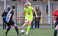 20191123 – BRUGGE, BELGIUM : Brugge's  Isabelle Iliano (left) pictured defending on Gent's Nina Stapelfeldt during a women soccer game between Dames Club Brugge and K AA Gent Ladies on the ninth matchday of the Belgian Superleague season 2019-2020 , the Belgian women's football  top division , saturday 23 th November 2019 at the Jan Breydelstadium – terrain 4  in Brugge  , Belgium  .  PHOTO SPORTPIX.BE | DAVID CATRY