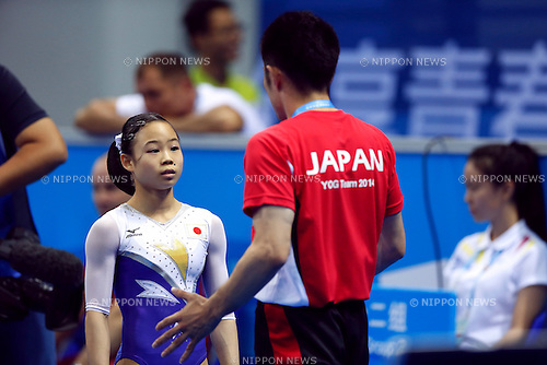 (L to R) Sae Miyagawa, Yuto Hayami (JPN), <br /> August 18, 2014 - Artistic Gymnastics : <br /> Girls' Individual All-Around Qualification Floor Exercise <br /> at Nanjing Olympic Sports Center  <br /> (Photo by AFLO SPORT)