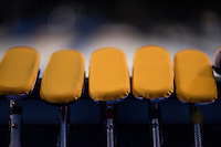 Glasgow. SCOTLAND.  A set of  Scotland's,  &quot;Brushes&quot; used for the &quot;sweeping&quot; leaning against a board waiting for the start of the Scotland vs Italy, &quot;Round Robin&quot; Game. Le Gruy&egrave;re European Curling Championships. 2016 Venue, Braehead  Scotland<br />