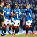 02.02.2019 Rangers v St Mirren: Alfredo Morelos tries to get the ball from penalty taker James Tavernier before it is taken