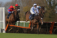 Sweet Prince ridden by Richie McLernon in jumping action during the rewards4racing.com Novices Hurdle