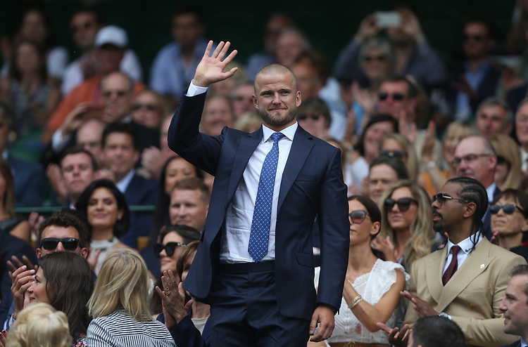 England footballer Eric Dier is introduced to the Centre Court crowd <br /> <br /> Photographer Rob Newell/CameraSport<br /> <br /> Wimbledon Lawn Tennis Championships - Day 6 - Saturday 6th July 2019 -  All England Lawn Tennis and Croquet Club - Wimbledon - London - England<br /> <br /> World Copyright © 2019 CameraSport. All rights reserved. 43 Linden Ave. Countesthorpe. Leicester. England. LE8 5PG - Tel: +44 (0) 116 277 4147 - admin@camerasport.com - www.camerasport.com