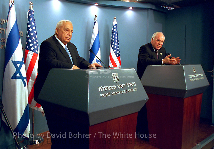 Vice President Cheney: Meeting with delagation to announce planned meeting with Arafat and press briefing.  Jerusalem, Israel.  Prime Minister Ariel Sharon..Used for Photos of Note March 17 - 18, 2002.  PON.WEB .WEST WING JUMBO .WEB.