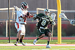 Redondo Beach, CA 05/11/10 - Ian Powell (PV # 8) and Mitchell Hymowitz (MC # 8) in action during the 2010 Los Angeles Boys Lacrosse championship game, Mira Costa defeated Palos Verdes 12-10 at Redondo Union High School.