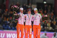SCHAATSEN: HEERENVEEN: Thialf, Essent ISU World Cup, 03-03-2012, Podium 1500m Ladies, Marrit Leenstra (NED), Ireen Wüst (NED), Diane Valkenburg (NED), ©foto: Martin de Jong