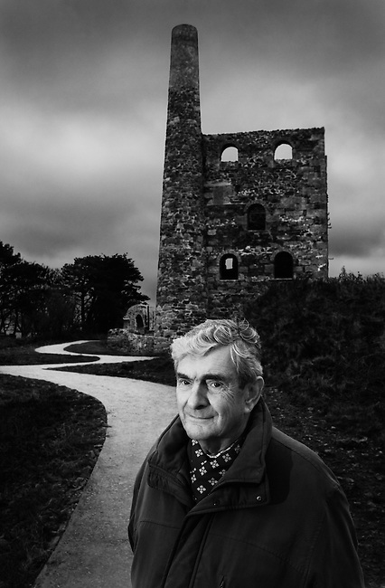 Joff Bullen, mining historian and owner of the 'Trounson-Bullen Collection' of mining photographs, at Wheal Peevor, near Redruth, Cornwall.<br />