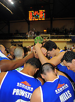 The Saints celebrate victory. NBL Semifinal - Wellington Saints v Nelson Giants at TSB Bank Arena, Wellington, New Zealand on Friday, 15 July 2011. Photo: Dave Lintott / lintottphoto.co.nz