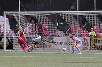Western New York Flash midfielder Makenzy Doniak (3) scores on Houston Dash goalkeeper Lydia Williams (18) to tie the gamer at 2-2.