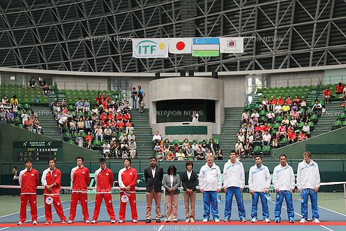 General view of the opening ceremony, JULY 8, 2011 - Tennis : Davis Cup Asia/Oceania Group1 2nd Round match Japan - Uzbekistan at Bourbon Beansdome, Hyogo, Japan. (Photo by Akihiro Sugimoto/AFLO SPORT) [1080]