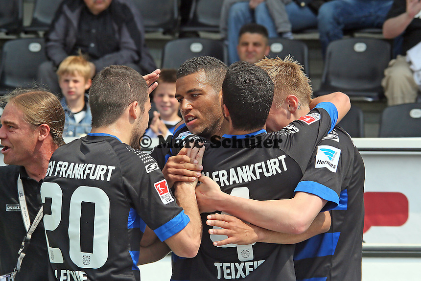 Torjubel Andrew Wooten (FSV) beim 1:0 - FSV Frankfurt vs. FC Energie Cottbus, Frankfurter Volksbank Stadion