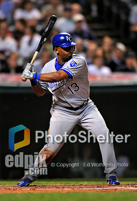 12 September 2008: Kansas City Royals' infielder Alberto Callaspo in action against the Cleveland Indians at Progressive Field in Cleveland, Ohio. The Indians defeated the Royals 12-5 in the first game of their 4-game series...Mandatory Photo Credit: Ed Wolfstein Photo