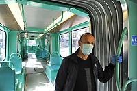 - epidemia di Coronavirus, vivere con la mascherina, in tram, Milano, Aprile 2020<br /> <br /> - Coronavirus epidemic, live with the mask, in tram, Milan, April 2020