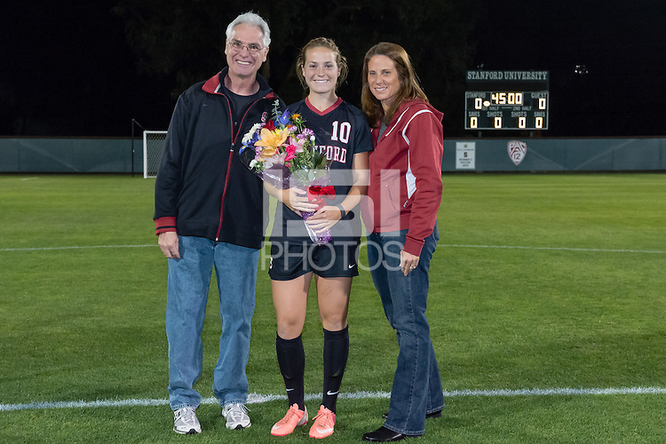 STANFORD, CA - November 6, 2013: Sydney Payne with her family during the Senior Day celebration before the Stanford vs UC Berkeley women's soccer match in Stanford, California.  Cal won 1-0 in overtime.