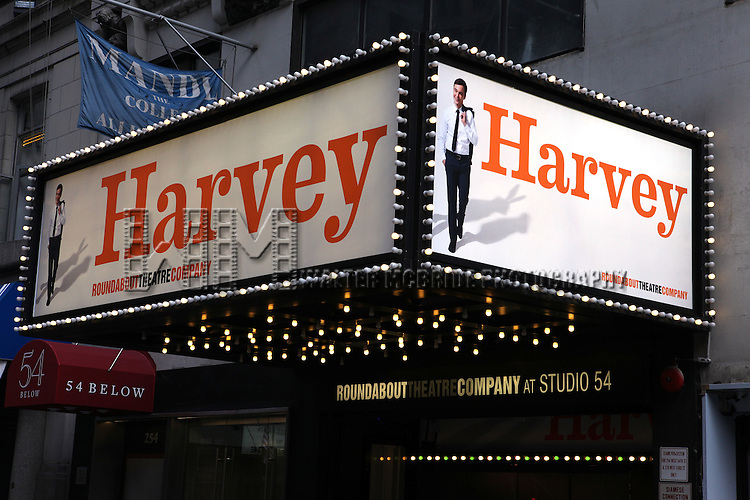 Theatre Marquee: Jim Parsons stars as one of modern theatre's most lovable characters, Elwood P. Dowd. Charming and kind, Elwood has only one character flaw: an unwavering friendship with a 6-foot-tall, invisible white rabbit named Harvey. Studio 54 in New York City on 5/15/12