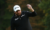 The pain is clear. Shane Lowry (IRL) finishes T2 during the Final Round of the British Masters 2015 supported by SkySports played on the Marquess Course at Woburn Golf Club, Little Brickhill, Milton Keynes, England.  11/10/2015. Picture: Golffile | David Lloyd<br /> <br /> All photos usage must carry mandatory copyright credit (&copy; Golffile | David Lloyd)