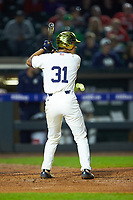 Daniel Jung (31) of the Notre Dame Fighting Irish at bat against the Louisville Cardinals in Game Eight of the 2017 ACC Baseball Championship at Louisville Slugger Field on May 25, 2017 in Louisville, Kentucky. The Cardinals defeated the Fighting Irish 10-3. (Brian Westerholt/Four Seam Images)