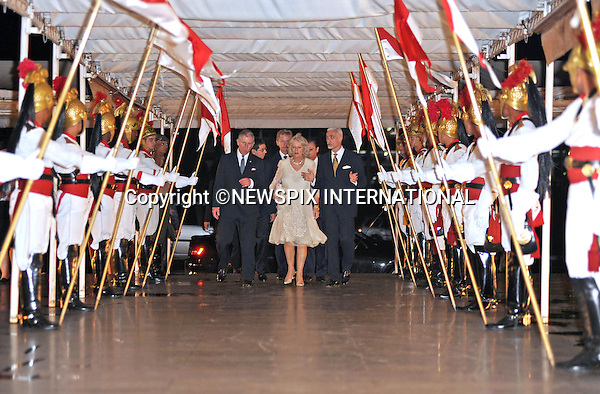 """*** Must Telephone : +441279 324672 For Repro Fees ***..PRINCE CHARLES AND CAMILLA, DUCHESS OF CORNWALL.Their Royal Highnesses attended a dinner hosted by the Foreign Minister Celso Amorim and his wife is Ana Maria Amorim at the Itamarty Palace,Brasilia, Brazil_11/03/09 .On arrival the Prince and Duchess where greeted by an Honor Guard..Before dinner the Prince and the Duchess admired some of the fine art work on display in the Palace..At the dinner table the Foreign Minister Celso Amorim gave a toast Their Royal Highnesses, followed by a brief speech form Prince Charles, where he outlined the good work and importance of Brazil in the fight against global pollution. His Royal Highness also commented on his love for Brazil and the joy and pleasure of showing such a beautiful country to his wife..Mandatory Credit Photo: ©DIAS-NEWSPIX INTERNATIONAL..Please telephone : +441279324672 for usage fees..**ALL FEES PAYABLE TO: """"NEWSPIX INTERNATIONAL""""**..IMMEDIATE CONFIRMATION OF USAGE REQUIRED:.Newspix International, 31 Chinnery Hill, Bishop's Stortford, ENGLAND CM23 3PS.Tel:+441279 324672  ; Fax: +441279656877.Mobile:  07775681153.e-mail: info@newspixinternational.co.uk"""
