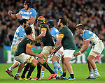 ENG - London, England, October 30: During the bronze medal match between South Africa (green/gold) and Argentina (blue/white) on October 30, 2015 at The Stadium, Queen Elizabeth Olympic Park in London, England. Final score 24-13 (HT 16-0). (Photo by Dirk Markgraf / www.265-images.com) *** Local caption *** (L-R) Eben Etzebeth #4 of South Africa, Victor Matfield #5 of South Africa, Frans Malherbe #3 of South Africa