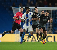 Brighton &amp; Hove Albion's Gaetan Bong (left) under pressure from Burnley's Ashley Westwood (right) <br /> <br /> Photographer David Horton/CameraSport<br /> <br /> The Premier League - Brighton and Hove Albion v Burnley - Saturday 9th February 2019 - The Amex Stadium - Brighton<br /> <br /> World Copyright &copy; 2019 CameraSport. All rights reserved. 43 Linden Ave. Countesthorpe. Leicester. England. LE8 5PG - Tel: +44 (0) 116 277 4147 - admin@camerasport.com - www.camerasport.com