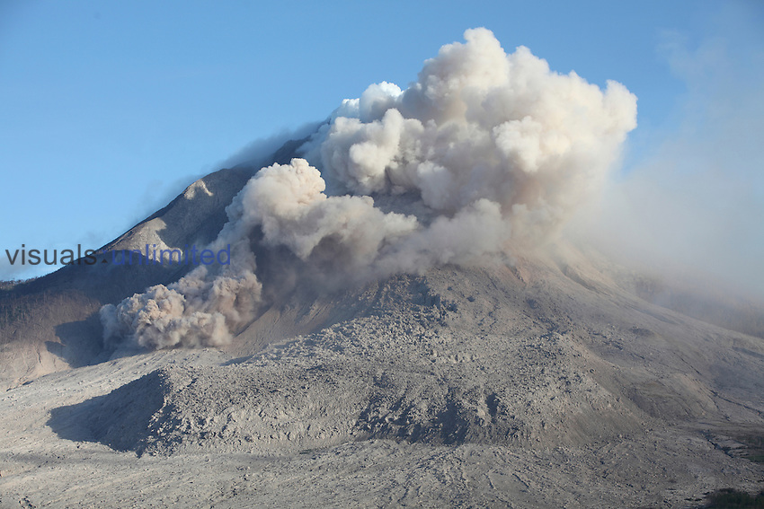 Small pyroclastic flow and large andesitic lava flow deposit on flank of Sinabung Volcano, Sumatra, Indonesia