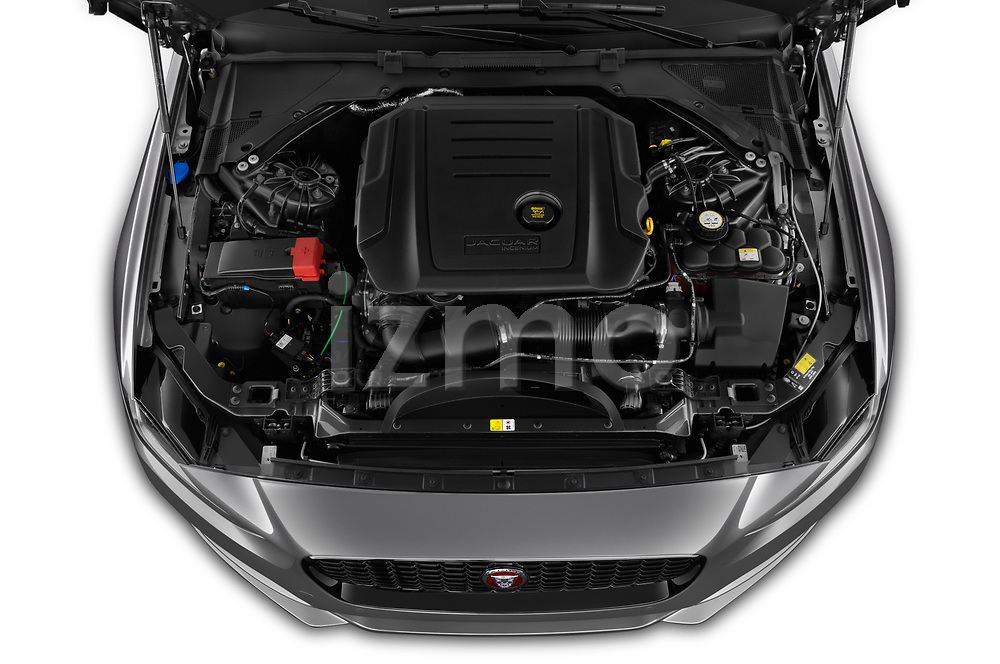 Car stock 2020 Jaguar XE S 4 Door Sedan engine high angle detail view