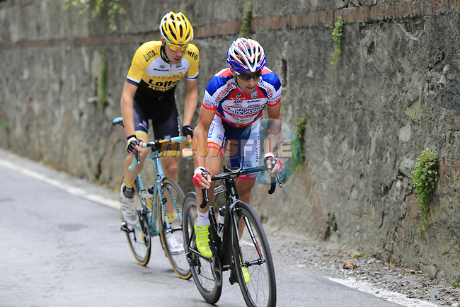 Michele Viola (ITA) Androni Giocattoli-Sidermec and Timo Roosen (NED) Lotto NL-Jumbo tackle the final climb of Superga near the finish of the 2015 96th Milan-Turin 186km race starting at San Giuliano Milanese, Italy. 1st October 2015.<br /> Picture: Eoin Clarke | Newsfile