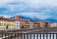 Colorful city buildings along the river Arno, Florence, Italy