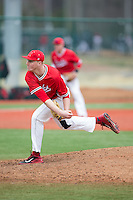 Hartford Hawks starting pitcher Brian Murphy (23) follows through on his delivery against the Cornell Big Red at The Ripken Experience on February 28, 2015 in Myrtle Beach, South Carolina.  The Big Red defeated the Hawks 4-3.  (Brian Westerholt/Four Seam Images)