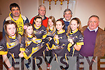Members of  the Abbeyfeale ladies U14 and U16 rugby teams with local sponsors who received their new jerseys, pictured here was Maria Hartnett,  Martin O'Donoghue(theAtticStairs.ie), Emilly Collins, Laura O'Donoghue, Gerard Collins (Bavarian Autoparts), Veronika Winnicka, Siobhan Donoghue, Dan O'Connor (O'Connor Contractors), Ava Collins and John Lyons (Lyons Contractors) in the local club house on Dec 21st.
