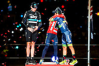 Left to the right,  Christopher Froome (2nd position) Nairo Quintana, (1st position) and Esteban Sanchez (3th position) of La Vuelta a España 2016 in Madrid. September 11, Spain. 2016. (ALTERPHOTOS/BorjaB.Hojas) NORTEPHOTO.COM