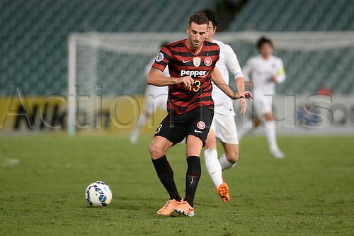 21.04.2015. Sydney, Australia. AFC Champions League. Western Sydney Wanderers versus Kashima Antlers. Wanderers defender Matthew Spiranovic in action. Kashima won 2-1.
