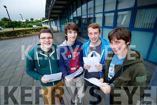 Tom Moriarty (Tralee), Harry Price (Tralee), Cathal Egan (Ballyroe, Tralee) and Cillian O'Regan (Camp, Tralee), students from Mercy Mounthawk Secondary School, Tralee, who received their Leaving Certificate results on Wednesday morning last.