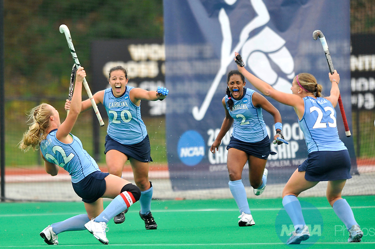 22 NOV 2009: University of North Carolina players celebrate after scoring the game winning goal with 11 seconds left to play against the University of Maryland during the Division I Women's Field Hockey Championship held at Kentner Stadium on the Wake Forest University campus in Winston-Salem, NC.  North Carolina defeated Maryland 3-2 for the national title.  Grant Halverson/NCAA Photos