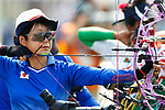 Yumiko Honda (JPN), <br /> AUGUST 22, 2018 - Archery : <br /> Women's Compound Individual Ranking Round <br /> at Gelora Bung Karno Archery Field <br /> during the 2018 Jakarta Palembang Asian Games <br /> in Jakarta, Indonesia. <br /> (Photo by Naoki Morita/AFLO SPORT)
