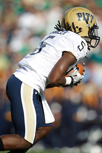 Pittsburgh wide receiver Cameron Saddler (#5) returns kickoff during NCAA football game between Pittsburgh and Notre Dame.  The Notre Dame Fighting Irish defeated the Pittsburgh Panthers 23-17 in game at Notre Dame Stadium in South Bend, Indiana.