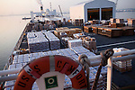 Relief supplies are stacked on deck of the USNS Comfort, a naval hospital ship, before it gets under way to Haiti to assist earthquake victims on Saturday, January 16, 2010 in Baltimore, MD.