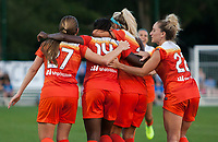 Kansas City, MO - Sunday July 02, 2017:  Nichelle Prince is surrounded by teammates Caity Heap, Camille Levin, Rachel Daly in celebration after scoring a goal during a regular season National Women's Soccer League (NWSL) match between FC Kansas City and the Houston Dash at Children's Mercy Victory Field.