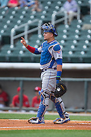 Tennessee Smokies catcher Kyle Schwarber (12) on defense against the Birmingham Barons at Regions Field on May 4, 2015 in Birmingham, Alabama.  The Barons defeated the Smokies 4-3 in 13 innings. (Brian Westerholt/Four Seam Images)