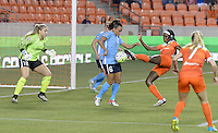 Houston, TX - Friday April 29, 2016: Taylor Lytle (6) of Sky Blue FC blocks a shot on goal by Chioma Ubogagu (9) of the Houston Dash at BBVA Compass Stadium. The Houston Dash tied Sky Blue FC 0-0.