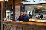 John and Beth in Balzano deli, driving Canazei to St Anton, Italy