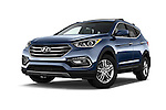 Stock pictures of low aggressive front three quarter view of 2017 Hyundai Santa-Fe Sport 5 Door SUV Low Aggressive